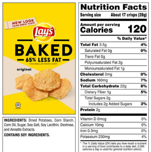 Baked Lay's chips nutrition label