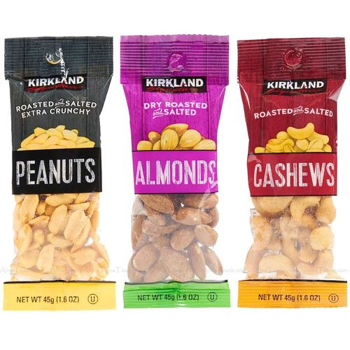 Peanuts, Almonds, Cashews.