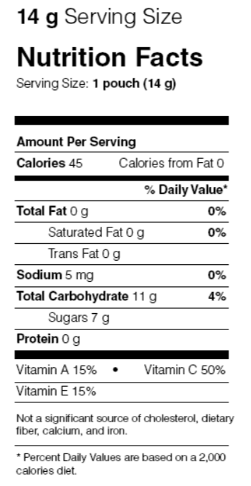 Welch's Fruit Snacks nutrition label.